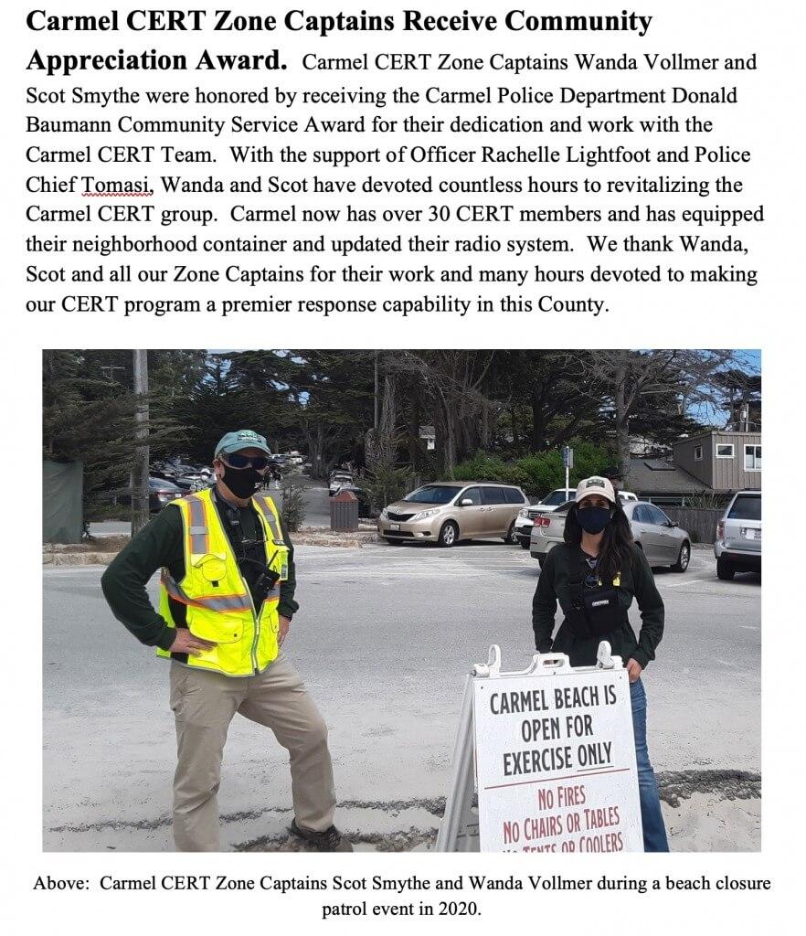 Carmel CERT Zone Captains receive Community Appreciation Award: Wanda Vollmer